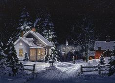 art of fred swan   The Season of Plum and Cobblestone: Walking To Town