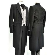 Men's Modern Black Wool Formal Wedding Frock Coat 36-38 Mens Modern... ❤ liked…