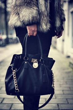 Love this purse! I fit everything in it :) - Michael Kors Black Hamilton