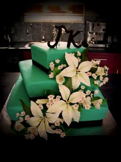 Image detail for -Teal Wedding by Blenderly on Cake Central