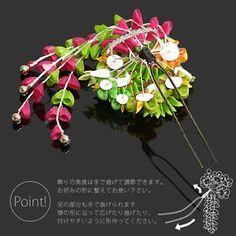 Japanese-Geisha-Kanzashi-comb-Kimono-Hairpin-finger-grip-green-raspberry