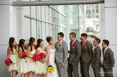 Yellow, grey and pink wedding.  Beautiful!