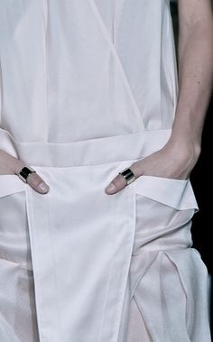Chic white dress with graphic pocket detail; close up fashion details // Ports 1961 Spring 2015