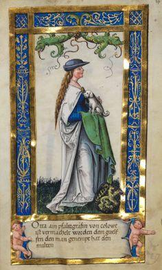 «Otta ain pfaltzgräfin von colowe ist vermachelt worden dem guelfen den man genempt hat den milten» (Stifterbild Otta (Uta), Pfalzgräfin von Calw, Ehefrau des Welf VI) (f°37r) -- «Weingartener Stifterbüchlein», Württembergische Landesbibliothek, Stuttgart, ca 1510 [Cod.hist.qt.584 - http://digital.wlb-stuttgart.de/purl/bsz380291940].