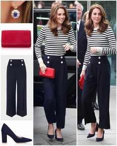 The Duchess dressed in a very appropriate nautical theme for today's official launch of The King's Cup sailing regatta. She wore some new… Estilo Kate Middleton, Princess Kate Middleton, Kate Middleton Style, Ladylike Style, Preppy Style, My Style, Royal Style, Snappy Casual, Duchesse Kate