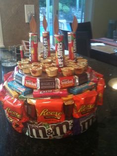 Candy birthday cake.... Stole the idea but the life savers candles came up with by myself and they made the look!
