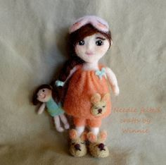 Needle felted doll Bedtime doll with her doll by FunFeltByWinnie
