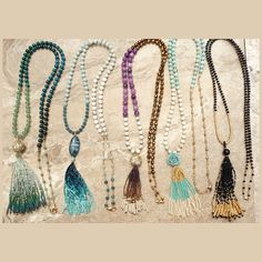 I've been having a blast making these long ombré tassels!  Each of them are 100% hand beaded by me, in my studio, and this particular necklace sports over 1,900 tiny seed beads. Stay tuned - I've got some dramatic new fringe earrings coming soon as well!