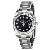 Women's Wrist Watches - Rolex Datejust Black Diamond Dial Oyster Bracelet White Gold Bezel Ladies Watch ** Details can be found by clicking on the image. Trendy Watches, Latest Watches, Cool Watches, Watches For Men, Wrist Watches, Watches Online, Luxury Watches, Rolex Watches, Gifts