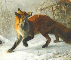 Fox in a Winter Landscape. Axel Raab, 1870