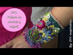 Tutorial Bracciale Gotico all'uncinetto | How to crochet a bracelet - YouTube Crochet Necklace Tutorial, Crochet Bracelet, Crochet Earrings, Wire Crochet, Freeform Crochet, Pandora Leather Bracelet, Pandora Bracelets, Boho Crochet Patterns, Beaded Braclets