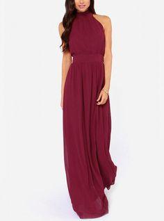 Halter Neck Burgandy Maxi Dress