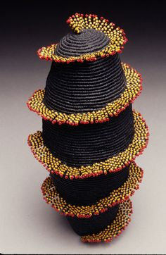 Merrill Morrison, Honolulu Honey, 1996. waxed linen and delicas, (the fringe are the beads the rest is waxed linen)