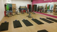 Studio is ready for the next cycle class. Fitness, Kids Rugs, Desk, Gym, Studio, Furniture, Home Decor, Desktop, Decoration Home