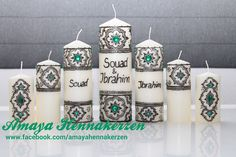 Candles decorated for a moroccan wedding.