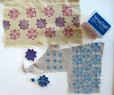 """-Versacraft stamp pads work well on linen and cotton with small rubber stamps. Do a search on Etsy for """"Versacraft"""".  -Speedball Speedy Carve blocks are my favorite for stamps."""