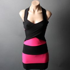 Pink Black Striped Panel Criss Cross Back Bandage Bodycon Mini Dress