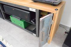 HiFi Regal, Holz,Stahl Hifi Regal, Lockers, Locker Storage, Desk, Cabinet, Furniture, Home Decor, Wood Steel, Clothes Stand
