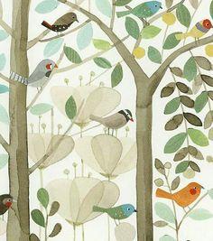 stylized birds in trees
