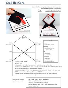 """Graduation Cap Mortarboard fun fold video tutorial https://youtu.be/B_IxakbDJpg and PDF 