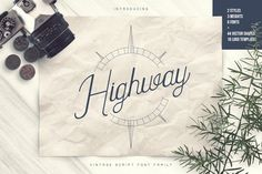Highway - Vintage font family Extras