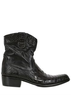 $675, Black Leather Boots: Calzoleria Toscana 40mm Washed Crocodile Leather Boots. Sold by LUISAVIAROMA. Click for more info: https://lookastic.com/men/shop_items/293466/redirect