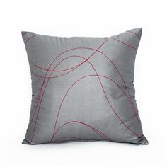 X Modern Gray & Red Swirl Throw Pillow Cover Decorative Pillow Covers, Throw Pillow Covers, Throw Pillows, Red And Grey, Gray, Red Accents, Accent Pillows, Color Schemes, Cushions