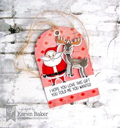 I'm here today to re-cap BOTH our October Release and November Mini Release Hops! Karen Baker, Pink Cards, Cute Packaging, Christmas Tag, My Stamp, Cartoon Styles, Note Cards, I Card, Reindeer