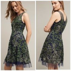 I just added this to my closet on Poshmark: 🎉HP🎉Anthropologie Embroidered Fern Dress. Price: $198 Size: 8