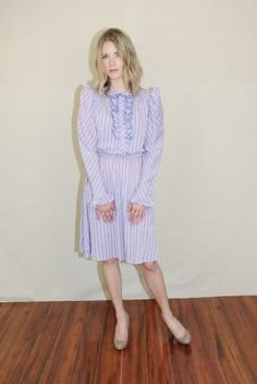 Vtg 70s Purple Striped Ruffle Puff Slv Hippie Festival Tie Party Mini Dress s M | eBay