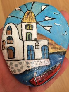 Painting on Stone Landscape Aegean Sea with by CreativeShopIdeas