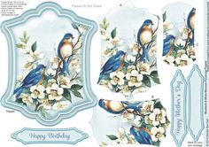 Bluebirds White Blossom Pyramage Topper on Craftsuprint designed by Sandie Burchell - Beautiful Shaped Pyramage Topper with 3 Layers of Pyramage and choice of sentiment panels which includes: Happy Birthday, Happy Mother's Day or Blank for your own message. To search for more in this style click on my name and enter pyramage topper in my search box. Please take a look at my other designs by clicking on my name. - Now available for download!
