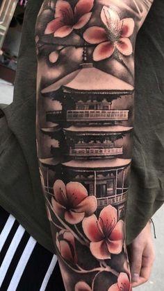Hand Tattoos for Guys Ideas Design Japanese Forearm Tattoo, Japanese Temple Tattoo, Japanese Tattoo Art, Japanese Tattoo Designs, Japanese Sleeve Tattoos, Irezumi Tattoos, Geisha Tattoos, Leg Tattoos, Tribal Tattoos
