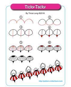 Ticky-Tacky Tangle, Zentangle Pattern by Tricia Long Zentangle Drawings, Doodles Zentangles, Doodle Drawings, Tangle Doodle, Zen Doodle, Doodle Art, Doodle Patterns, Zentangle Patterns, Doodle Borders