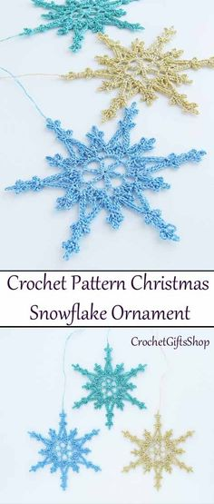 This pretty, delicate snowflake will make a beautiful accent to your Christmas tree or any holiday decor! You will want to crochet snowflakes for your tree, as gift wrap decorations, office decorations. Diy Christmas Snowflakes, Snowflake Craft, Crochet Christmas Ornaments, Christmas Crochet Patterns, Holiday Crochet, Crochet Snowflakes, Snowflake Ornaments, Free Crochet Snowflake Patterns, Christmas Tag