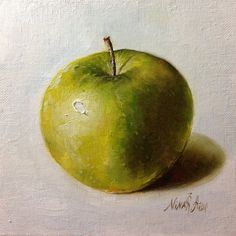 Green Apple Crispy Green Original Oil painting on canvas 6x6 inches  by Nina R.Aide Studio,
