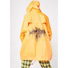 Whatever 21 Whatever Raincoat ($160) ❤ liked on Polyvore featuring outerwear, coats, orange, pocket raincoat, hooded coat, mac coat, yellow raincoat and yellow rain coats