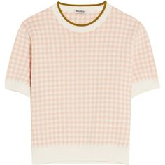 Miu Miu Intarsia cotton sweater (4.595 ARS) ❤ liked on Polyvore featuring tops, sweaters, shirts, t-shirts, short-sleeve shirt, short sleeve cotton shirts, short sleeve sweater, shirt top and short sleeve cotton sweaters