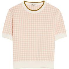Miu Miu Intarsia cotton sweater ($520) ❤ liked on Polyvore featuring tops, sweaters, t-shirts, blush, pink sweater, short sleeve sweater, pink top, cotton sweaters and miu miu top