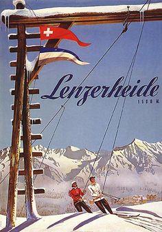 Poster by Arnold Bosshard / Lenzerheide, Switzerland / 1944 Vintage Ski Posters, Retro Poster, Vintage Advertisements, Vintage Ads, Stations De Ski, Swiss Travel, Travel Ads, Travel Photos, Vintage Winter
