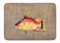 Hog Snapper on Faux Burlap Machine Washable Memory Foam Mat 8753RUG
