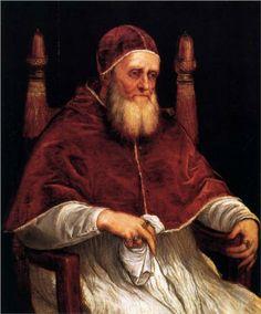 Portrait of Pope Julius II - Titian. 1545-46. Oil on wood. 99 x 82 cm. Galleria Palatina, Palazzo Pitti, Florence, Italy.