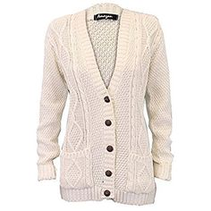e41b15be54 UK Women Cardigans - Ladies  Knitted Cardigan L5BUTH4 Cream Medium Large.  It is an Amazon affiliate link.