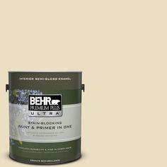 BEHR Premium Plus Ultra 1 gal. #22 Navajo White Semi-Gloss Enamel Interior Paint