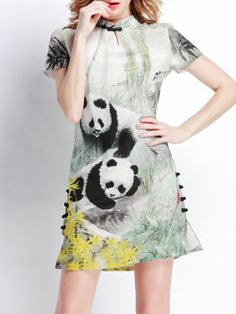 Printed Silk-blend Mini Dress
