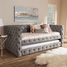 Twin Janie Classic and Contemporary Fabric Upholstered Daybed with Trundle Gray - Baxton Studio Diy Apartment Decor, Apartment Kitchen, Bedroom Apartment, Diy Home Decor, Studio Apartment, Apartment Living, Apartment Ideas, Grey Fabric, Affordable Mattress