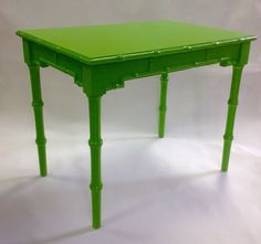 Palm Beach Regency Chic Faux Bamboo Florida Side Table Lime Green | eBay