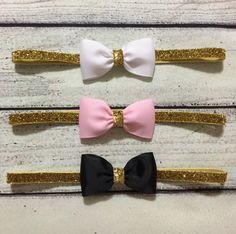 Diadema rosa y oro venda del bebé oro y negro venda del bebé
