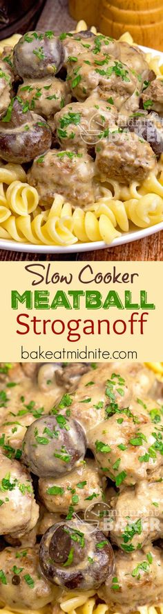 This meatball stroganoff is a quick slow cooker meal. Cooks in 3 hours. Make the… This meatball stroganoff is a quick slow cooker meal. Cooks in 3 hours. Make the meatballs ahead or use store-bought frozen in a pinch. Crock Pot Food, Crockpot Dishes, Crock Pot Slow Cooker, Beef Dishes, Slow Cooker Recipes, Beef Recipes, Cooking Recipes, Slow Cooking, Recipies