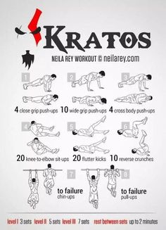 Instructions: Repeat each move with no rest in between until the set is done, rest up to 2 minutes and repeat the whole set again 5 or 7 times depending on your fitness level. Hero Workouts, Gym Workout Tips, At Home Workouts, 300 Workout, Neila Rey Workout, Spartan Workout, Superhero Workout, Martial Arts Workout, Darebee
